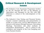 critical research development issues