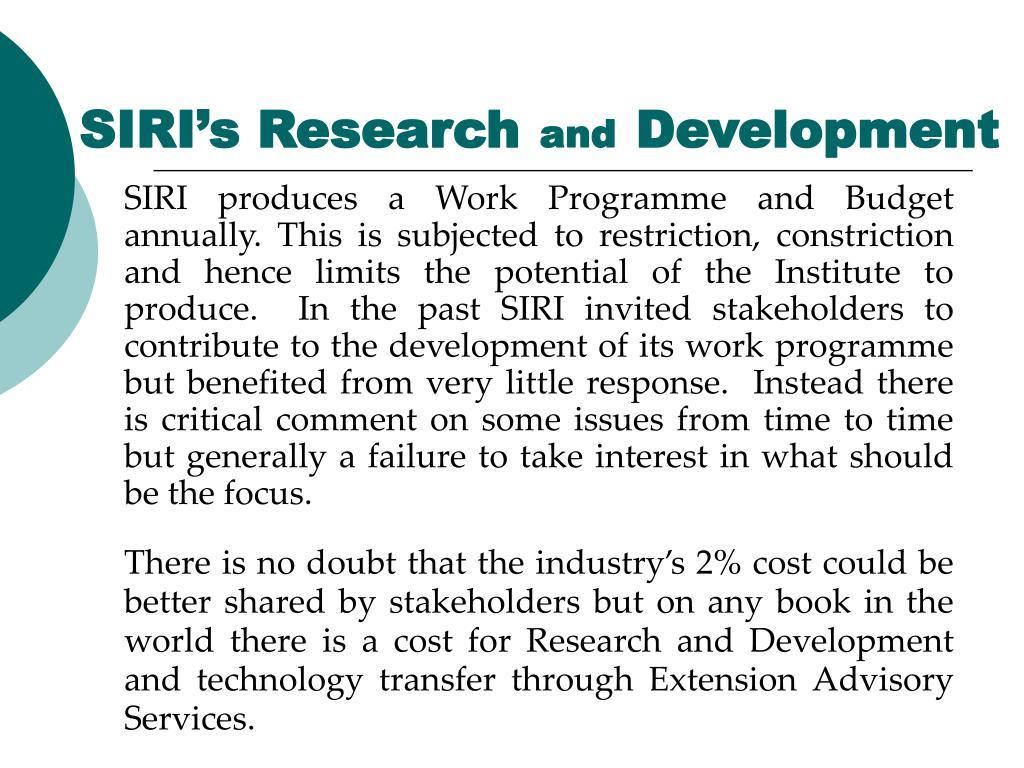 SIRI's Research
