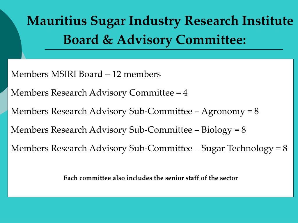 Members MSIRI Board – 12 members