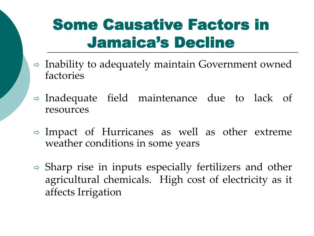 Some Causative Factors in Jamaica's Decline