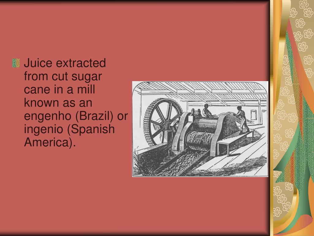 Juice extracted from cut sugar cane in a mill known as an engenho (Brazil) or ingenio (Spanish America).