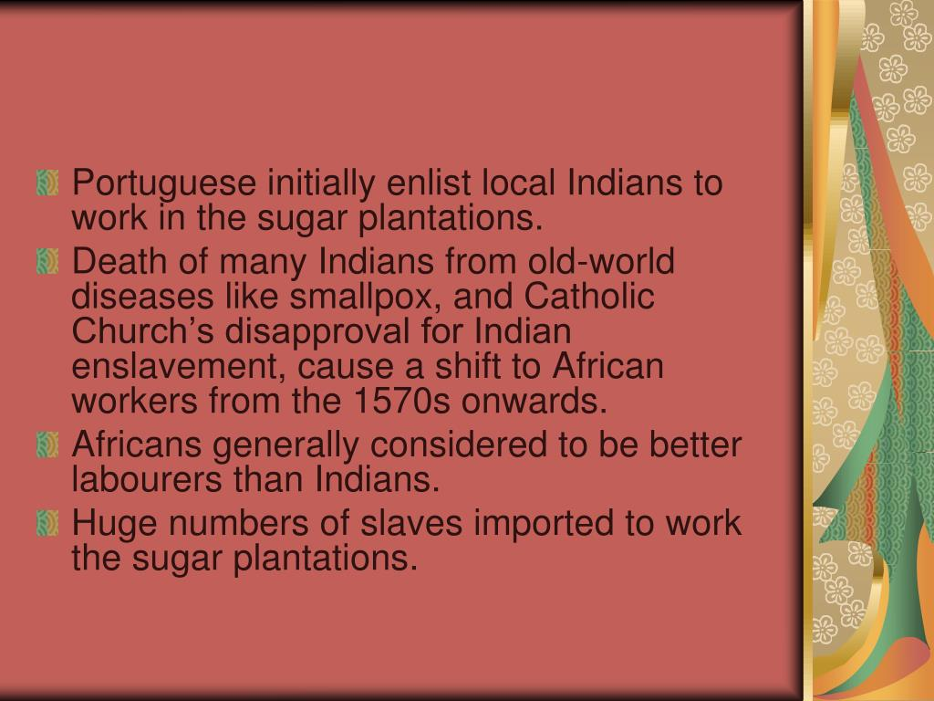 Portuguese initially enlist local Indians to work in the sugar plantations.