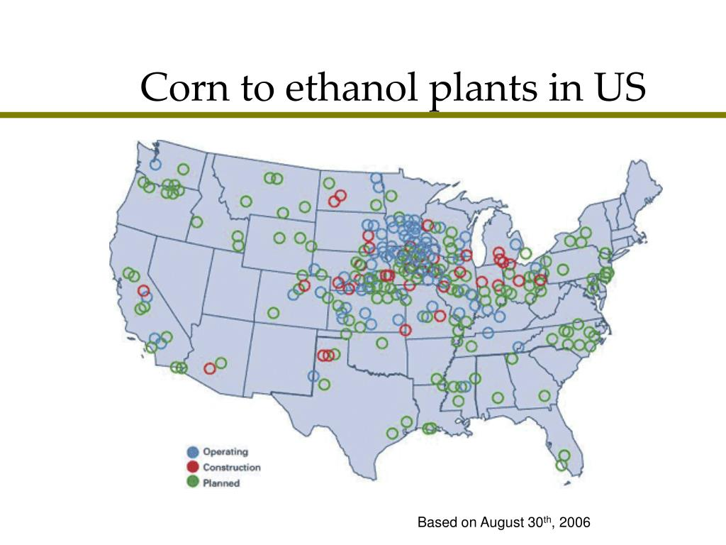 Corn to ethanol plants in US