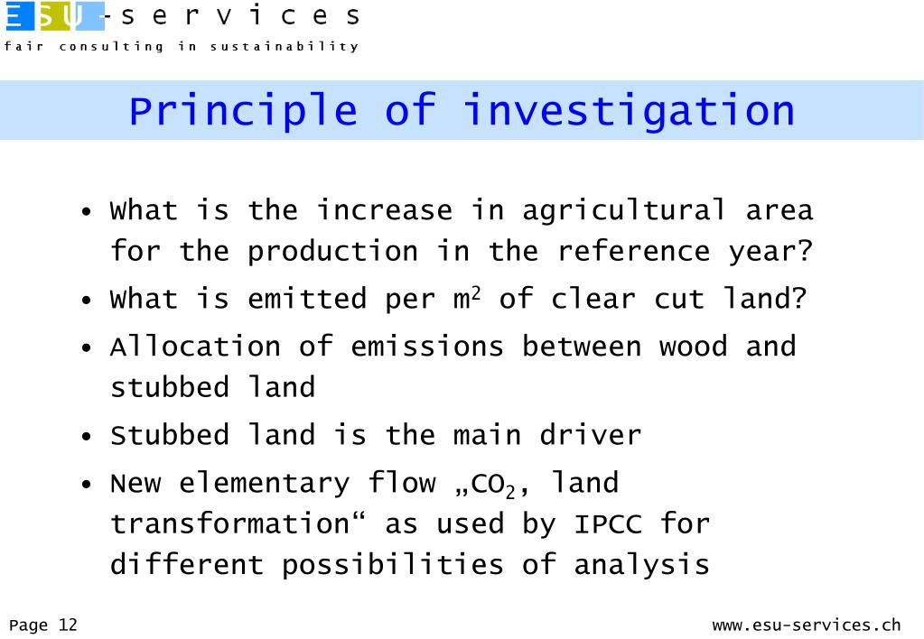Principle of investigation