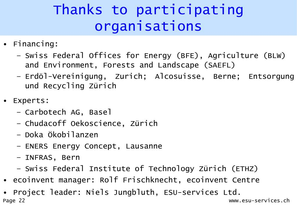 Thanks to participating organisations