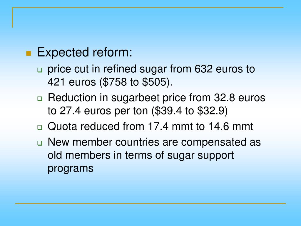 Expected reform: