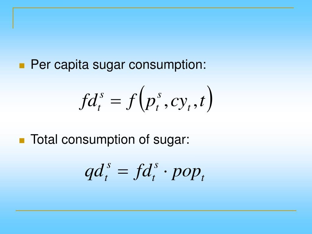 Per capita sugar consumption: