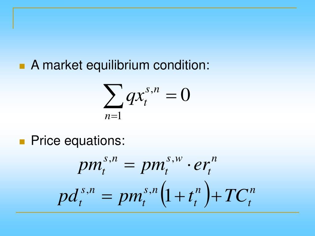 A market equilibrium condition: