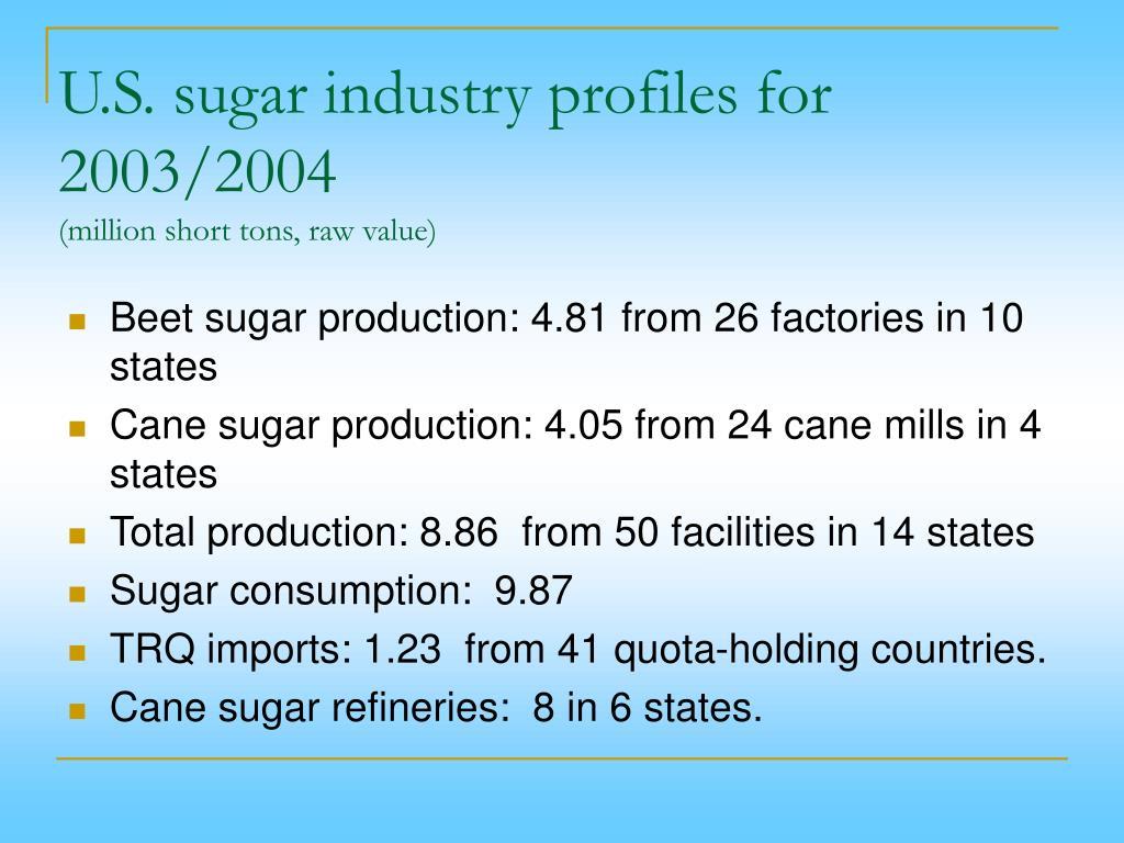 U.S. sugar industry profiles for 2003/2004