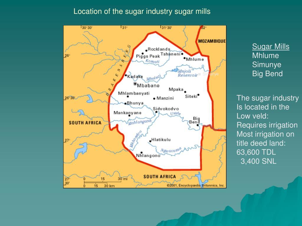 Location of the sugar industry sugar mills