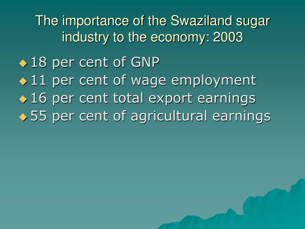The importance of the Swaziland sugar industry to the economy: 2003
