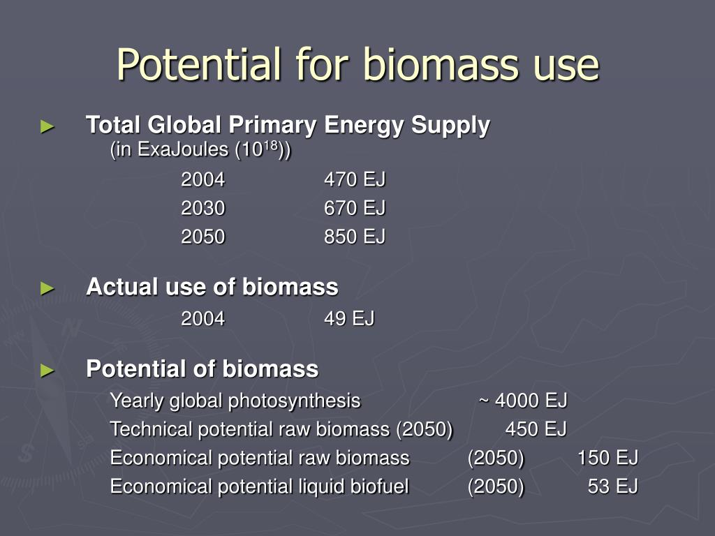 Potential for biomass use