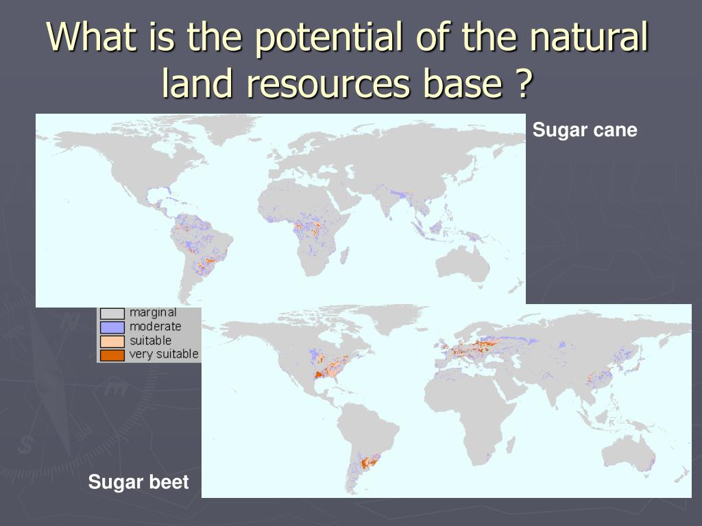 What is the potential of the natural land resources base ?