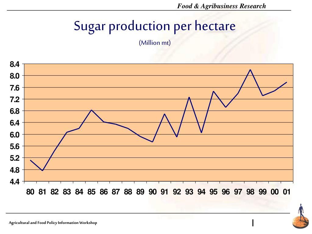Sugar production per hectare