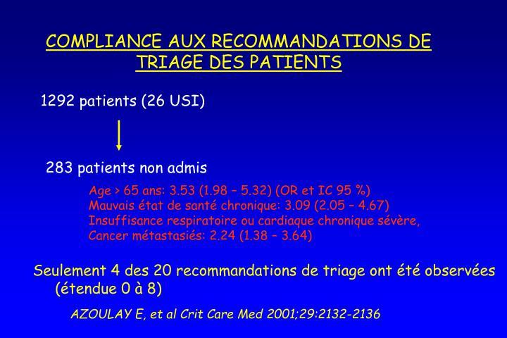 COMPLIANCE AUX RECOMMANDATIONS DE TRIAGE DES PATIENTS