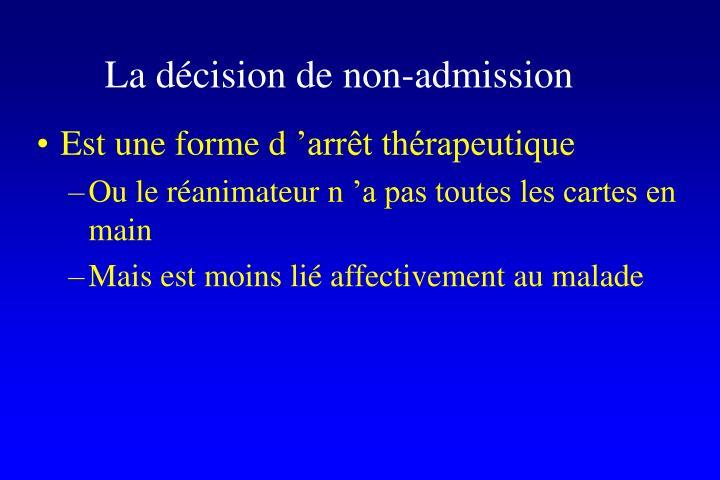 La décision de non-admission