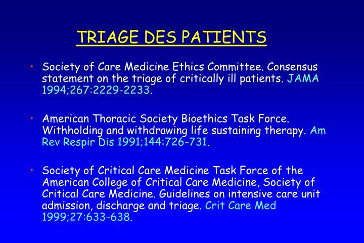 TRIAGE DES PATIENTS
