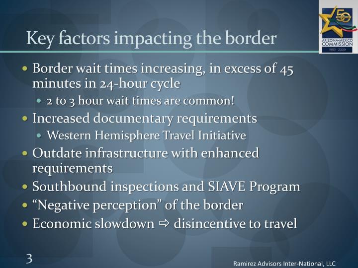 Key factors impacting the border