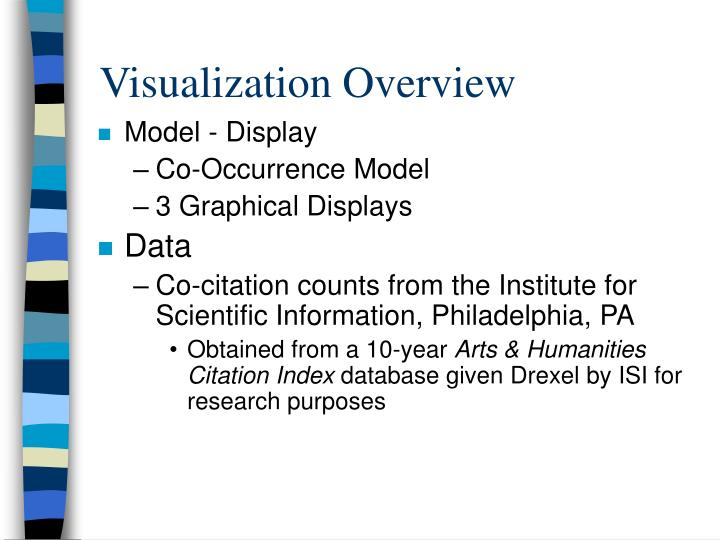 Visualization overview
