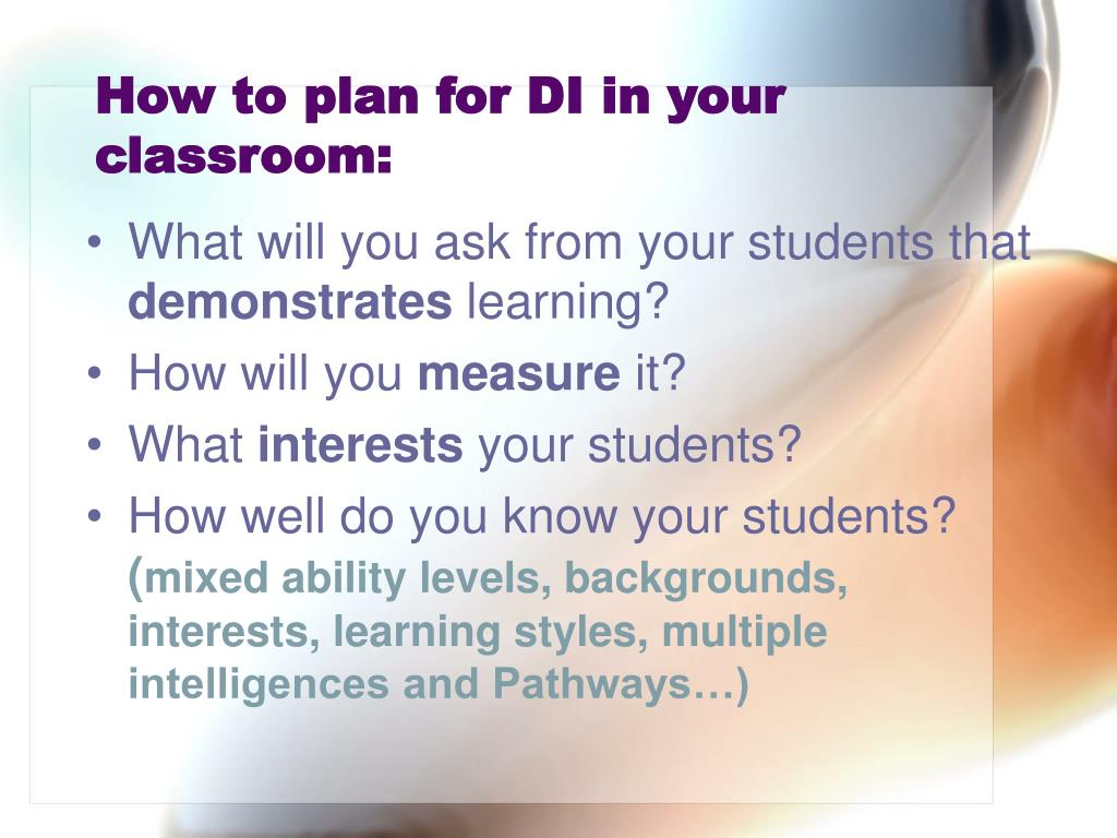 How to plan for DI in your classroom: