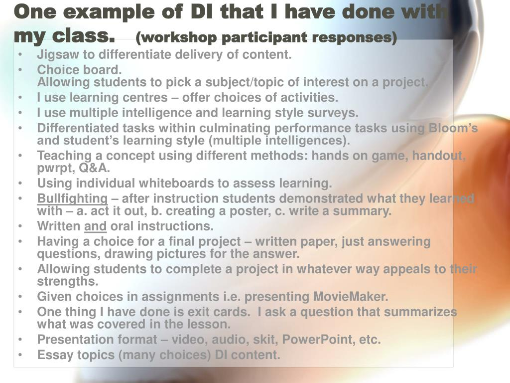 One example of DI that I have done with my class.