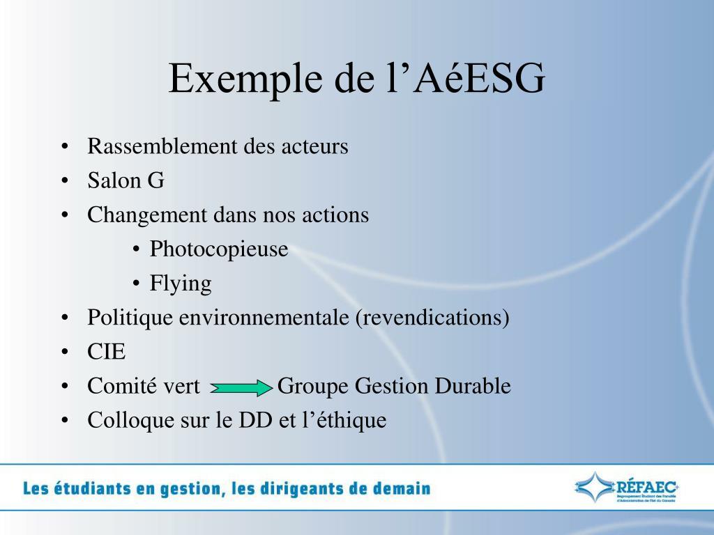 Exemple de l'AéESG