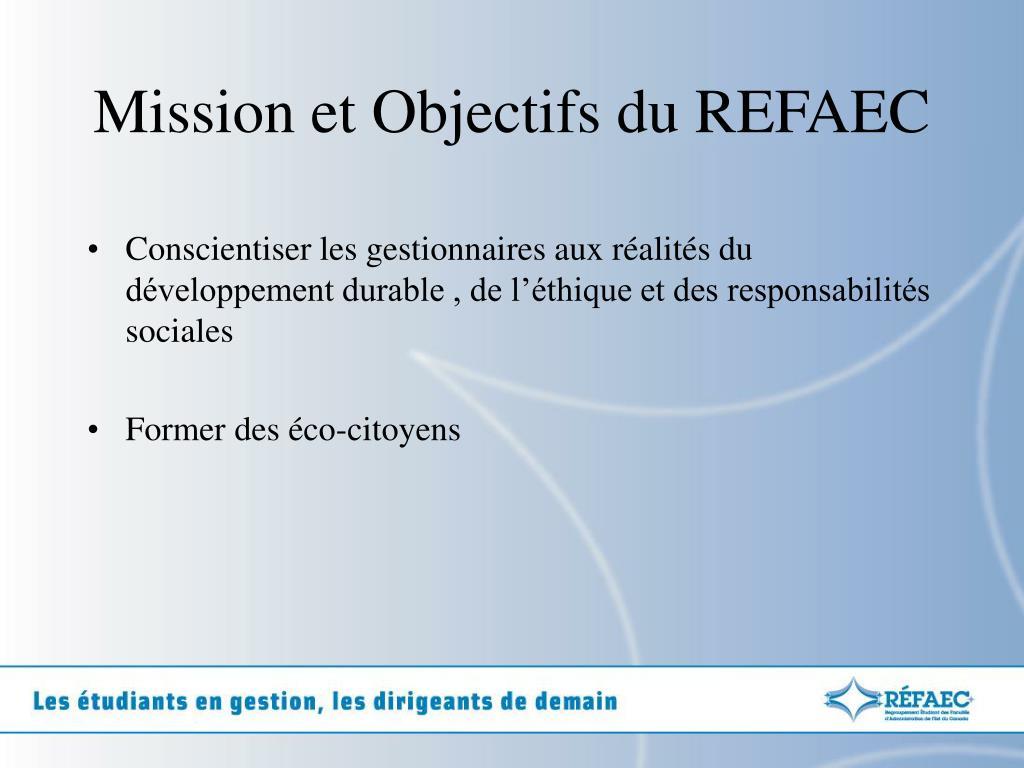 Mission et Objectifs du REFAEC