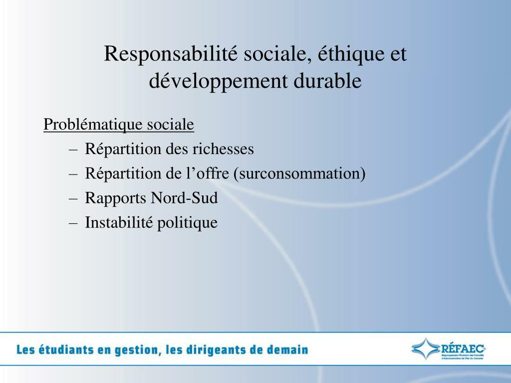 Responsabilité sociale, éthique et développement durable