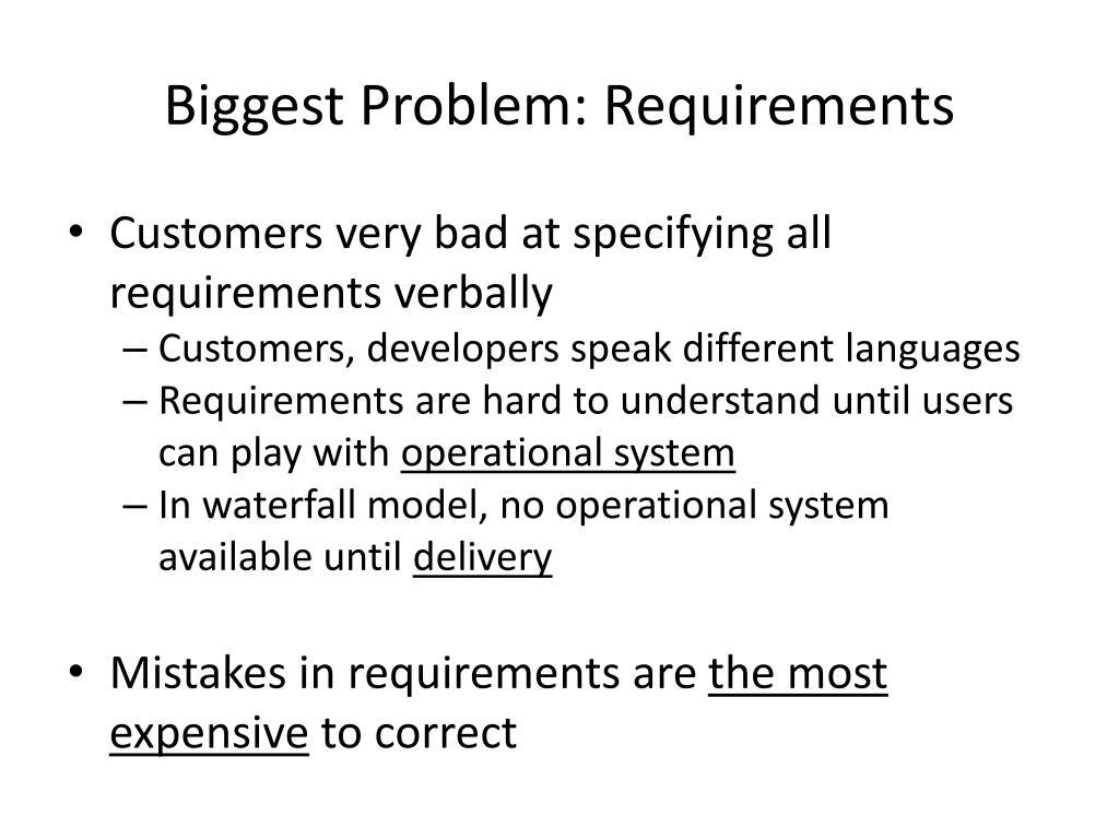 Biggest Problem: Requirements