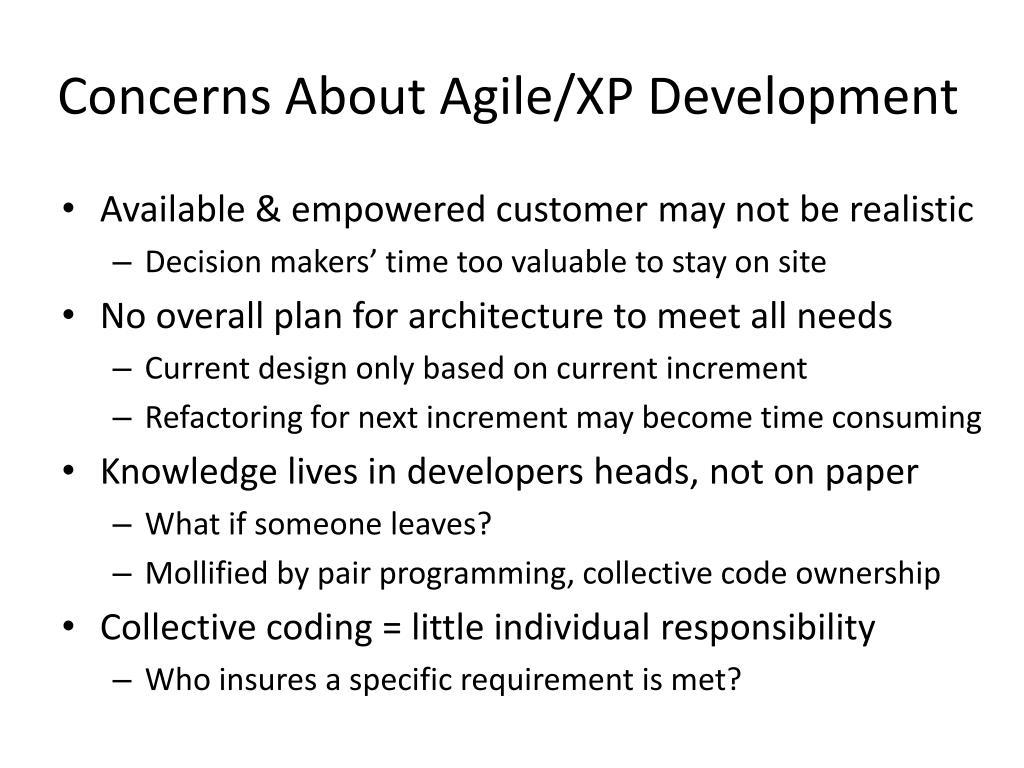 Concerns About Agile/XP Development