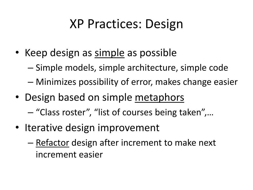 XP Practices: Design