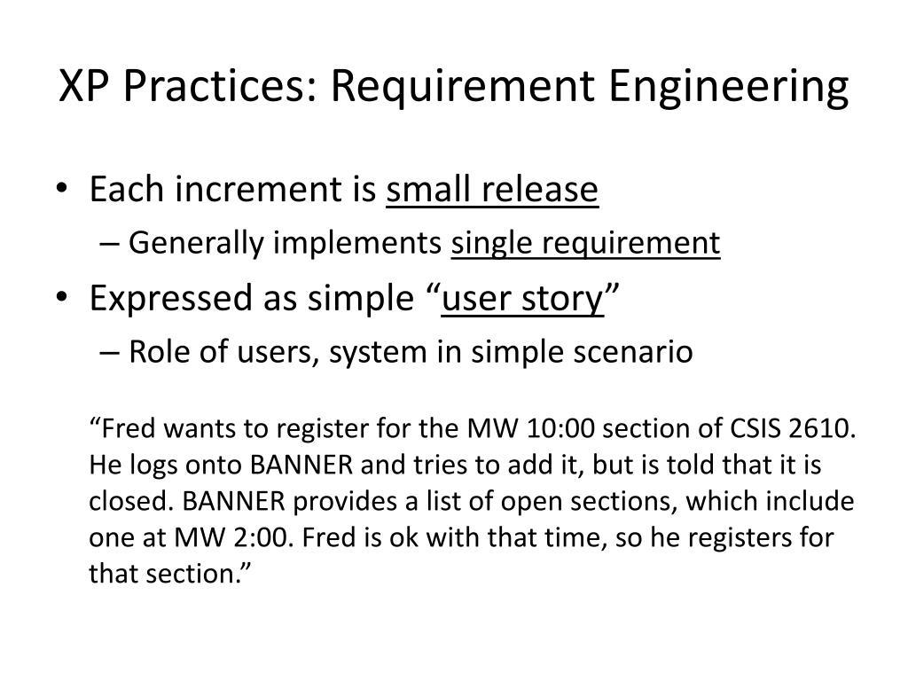 XP Practices: Requirement Engineering