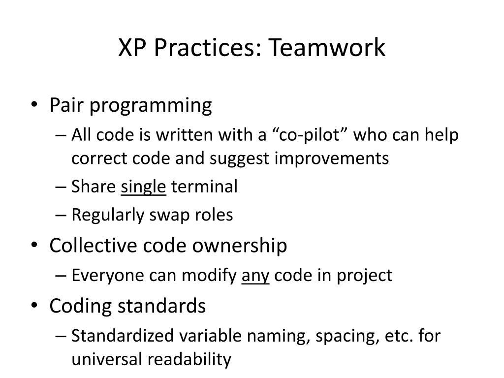 XP Practices: Teamwork