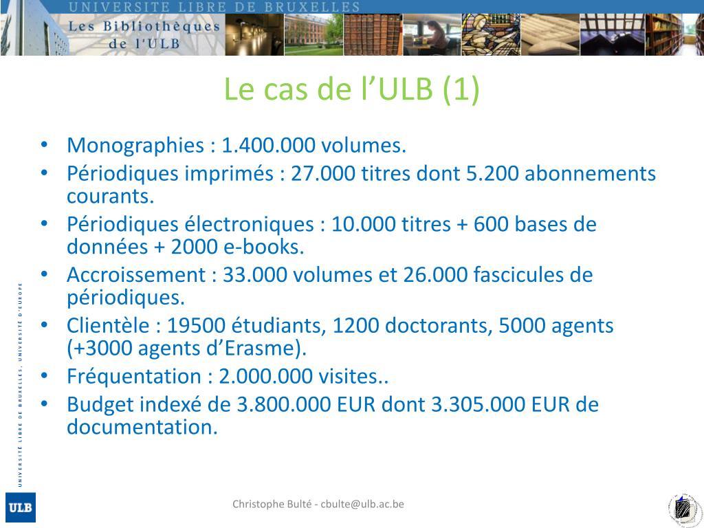 Le cas de l'ULB (1)