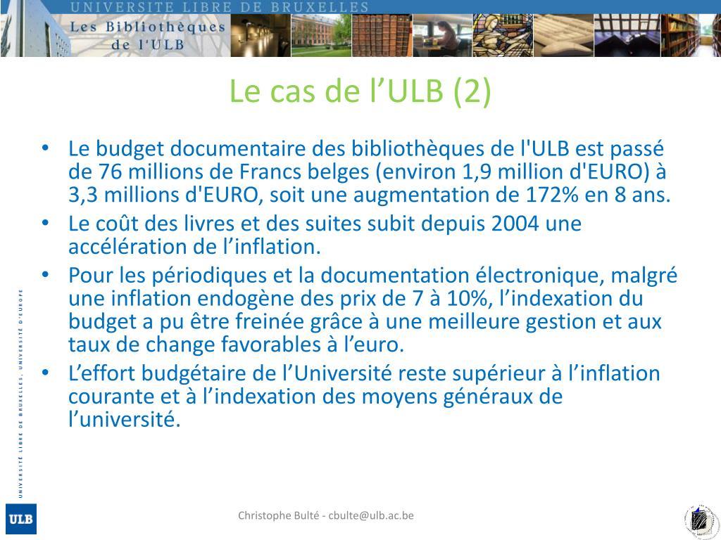 Le cas de l'ULB (2)