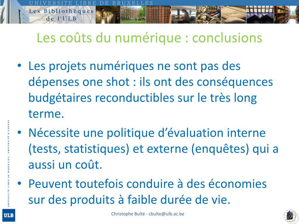 Les coûts du numérique : conclusions