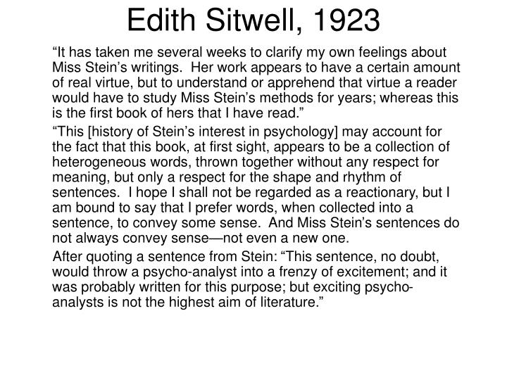 Edith Sitwell, 1923