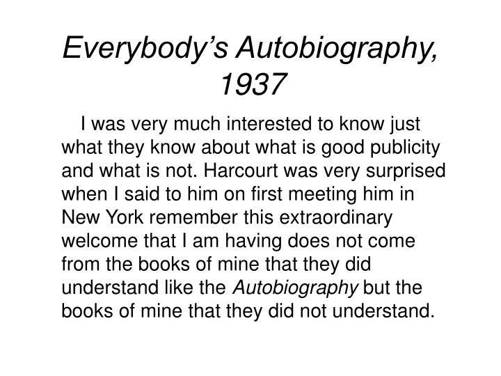 Everybody's Autobiography, 1937