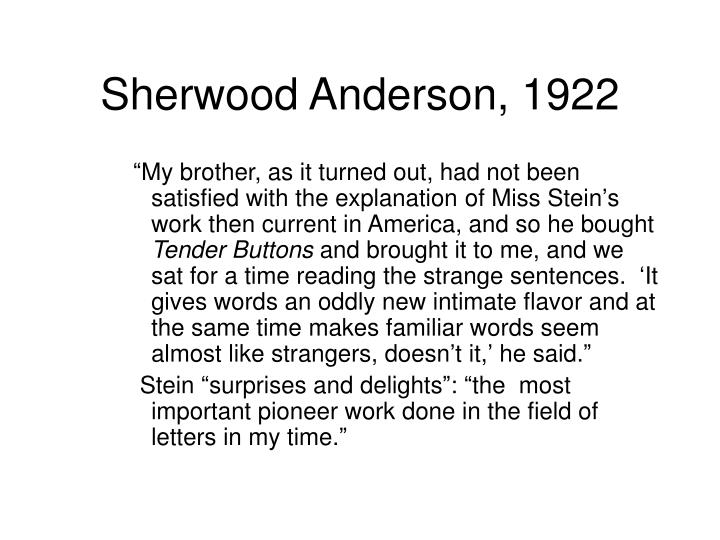 Sherwood Anderson, 1922