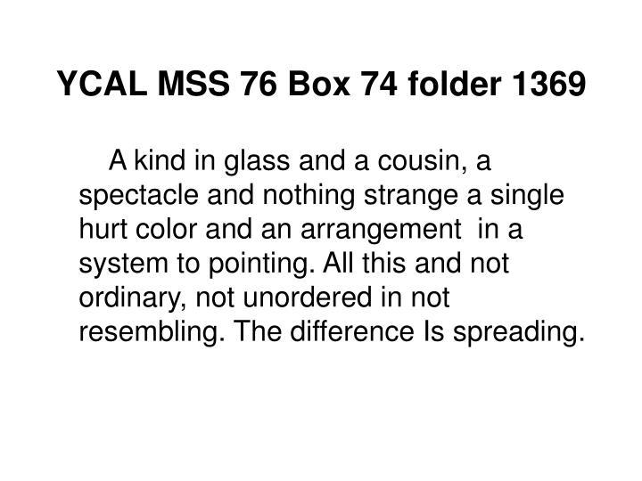 YCAL MSS 76 Box 74 folder 1369