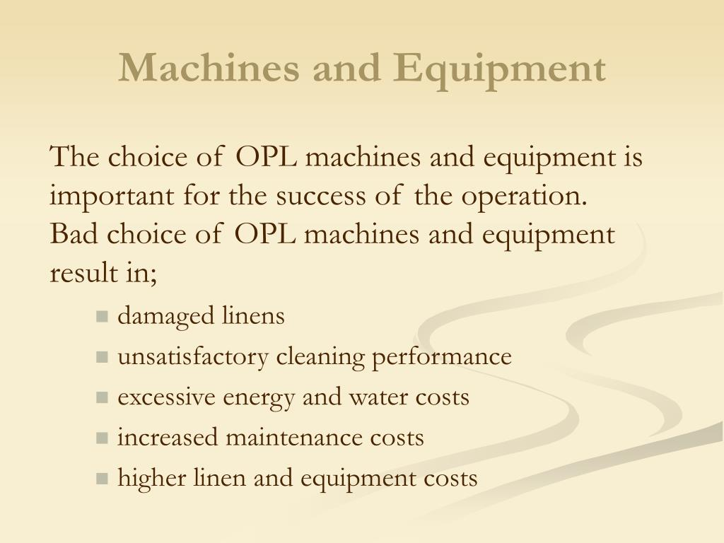 Machines and Equipment
