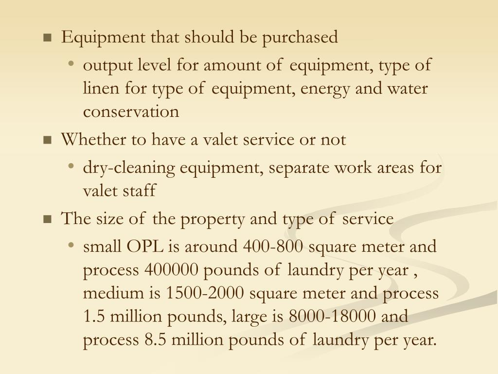 Equipment that should be purchased