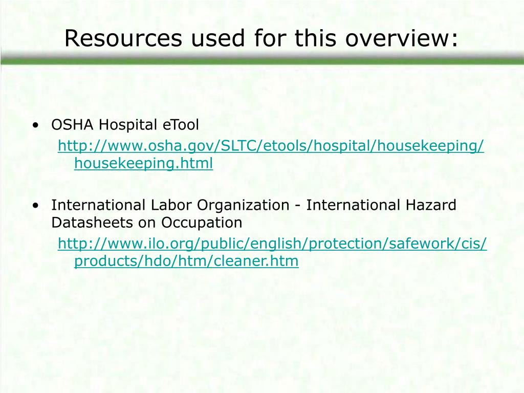 Resources used for this overview:
