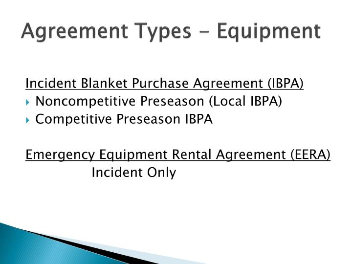 Agreement types equipment