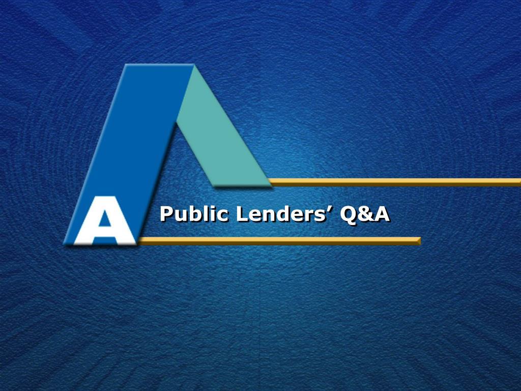 Public Lenders' Q&A