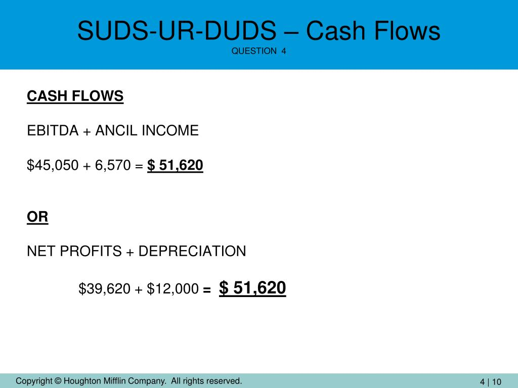 SUDS-UR-DUDS – Cash Flows