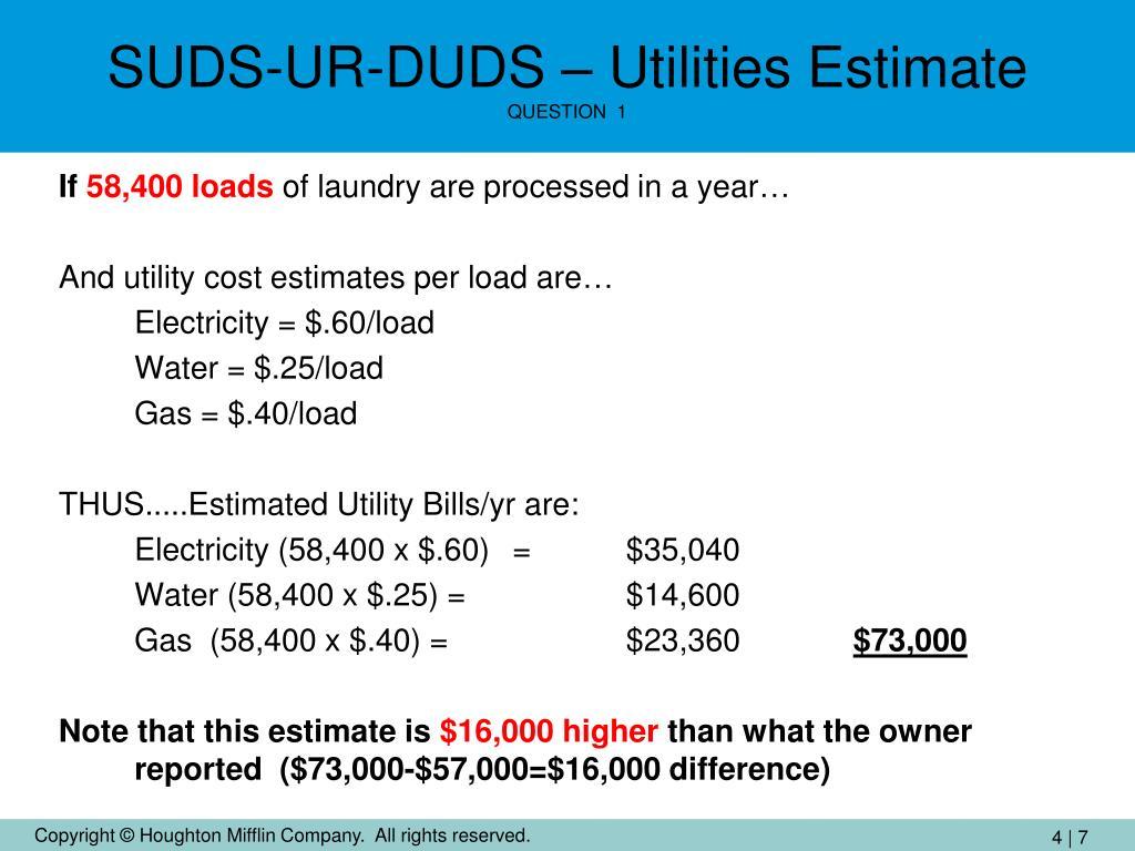 SUDS-UR-DUDS – Utilities Estimate