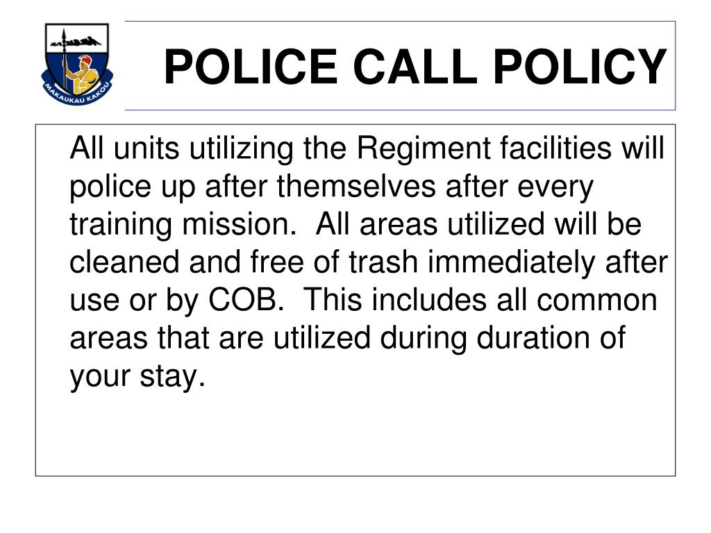 POLICE CALL POLICY
