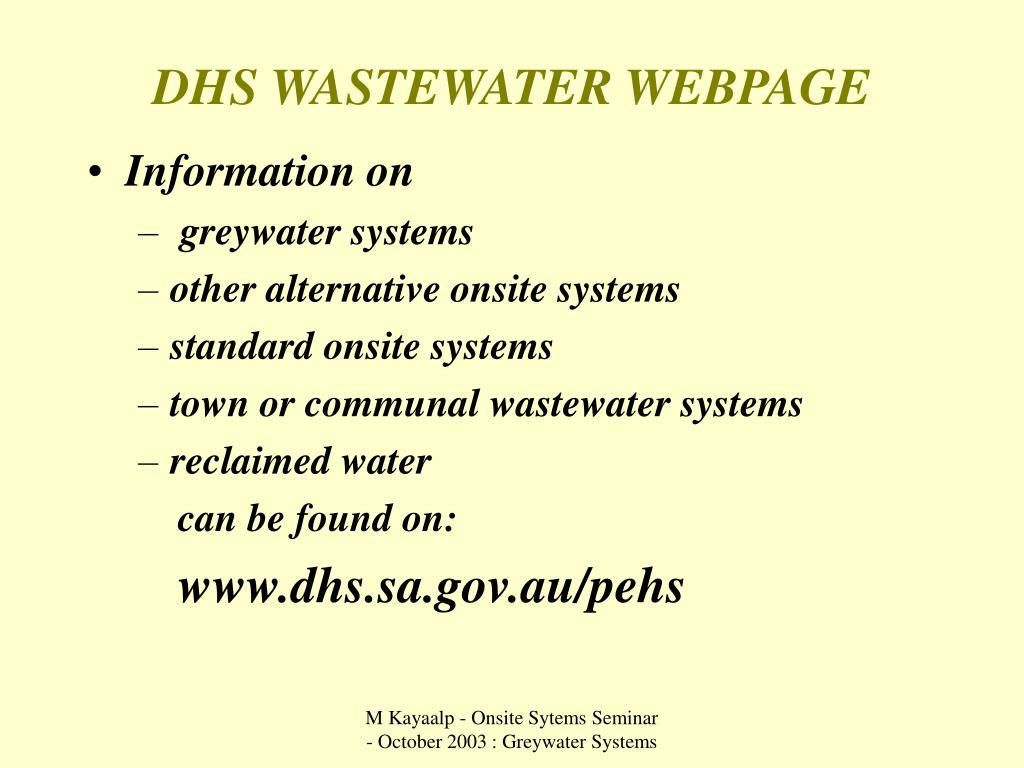DHS WASTEWATER WEBPAGE