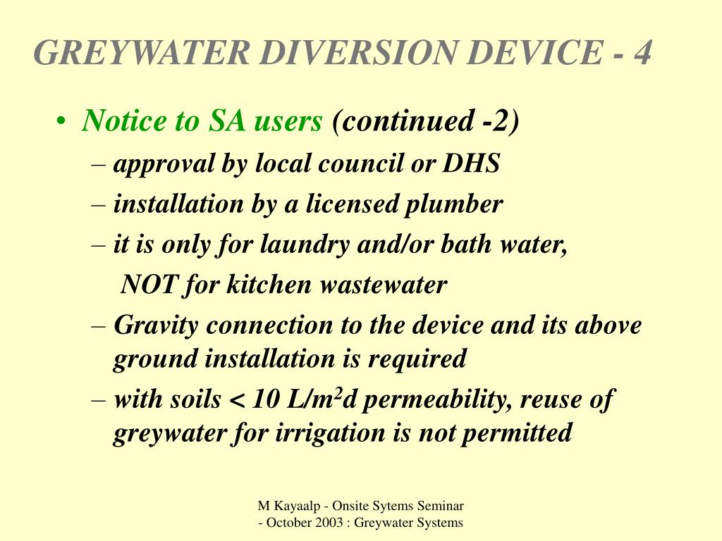 GREYWATER DIVERSION DEVICE - 4